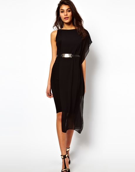 Asos Collection Belted Bodycon Dress with Chiffon Drape in Black