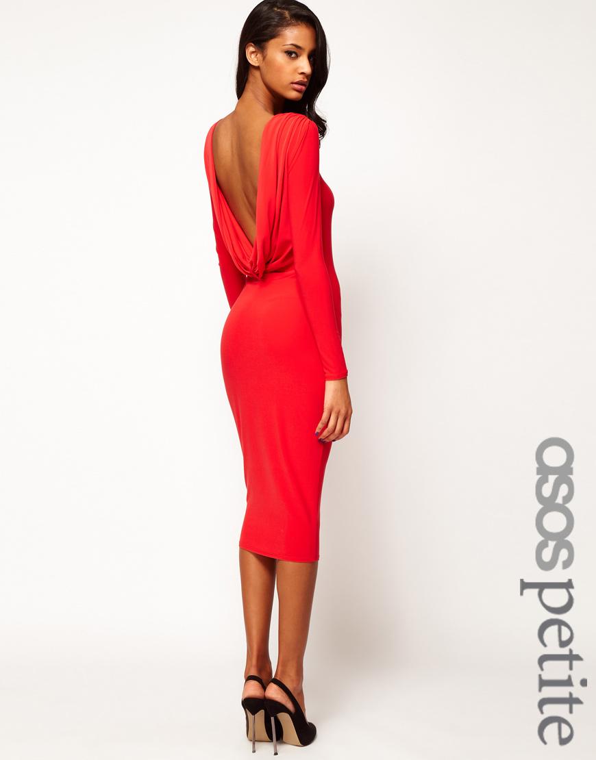 Asos Midi Bodycon Dress with Drape V Back in Red