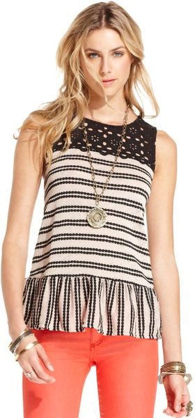 Free People Sleeveless Highneck Floralcrochet Striped Peplumhem - Lyst