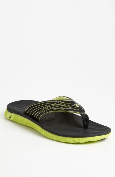 Hurley Phantom Flip Flop In Black For Men Neon Yellow Lyst