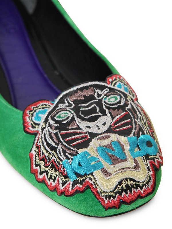 Kenzo Tiger Embroidery Suede Ballerinas In Green Lyst