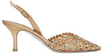 Rene Caovilla Swarovski Embroidered Pumps - Lyst