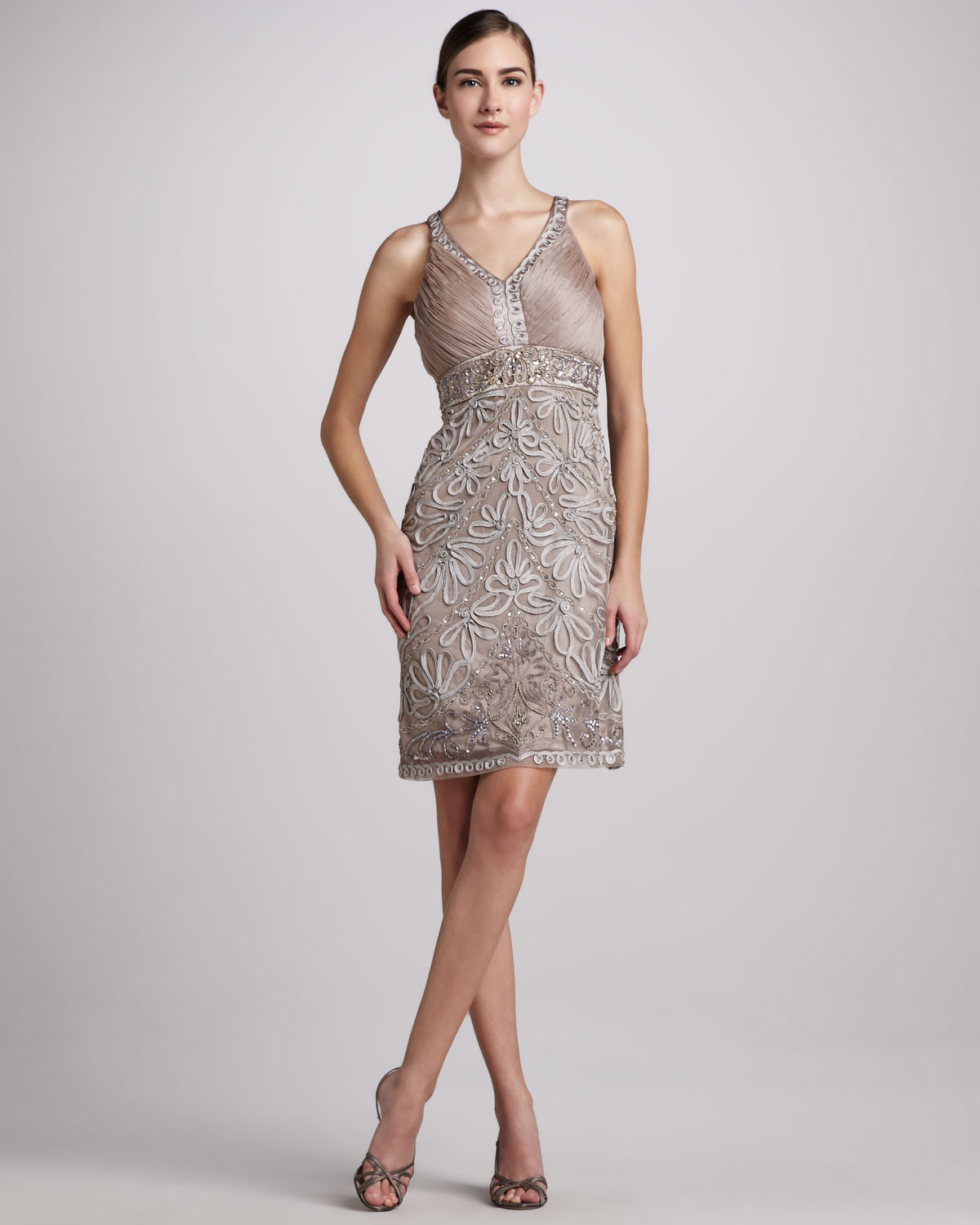 9d36fe9eee0 Sue Wong Sleeveless Beaded Cocktail Dress in Gray - Lyst