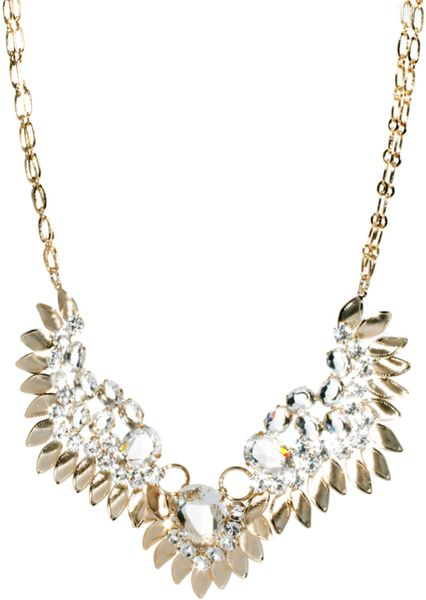 Swarovski Angel Wing Necklace With Stones In Gold Crystal