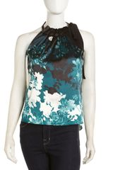 Tahari Gathered Neck Halter Top - Lyst