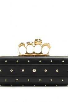Alexander McQueen Skull Knuckle Studded Leather Box Clutch - Lyst