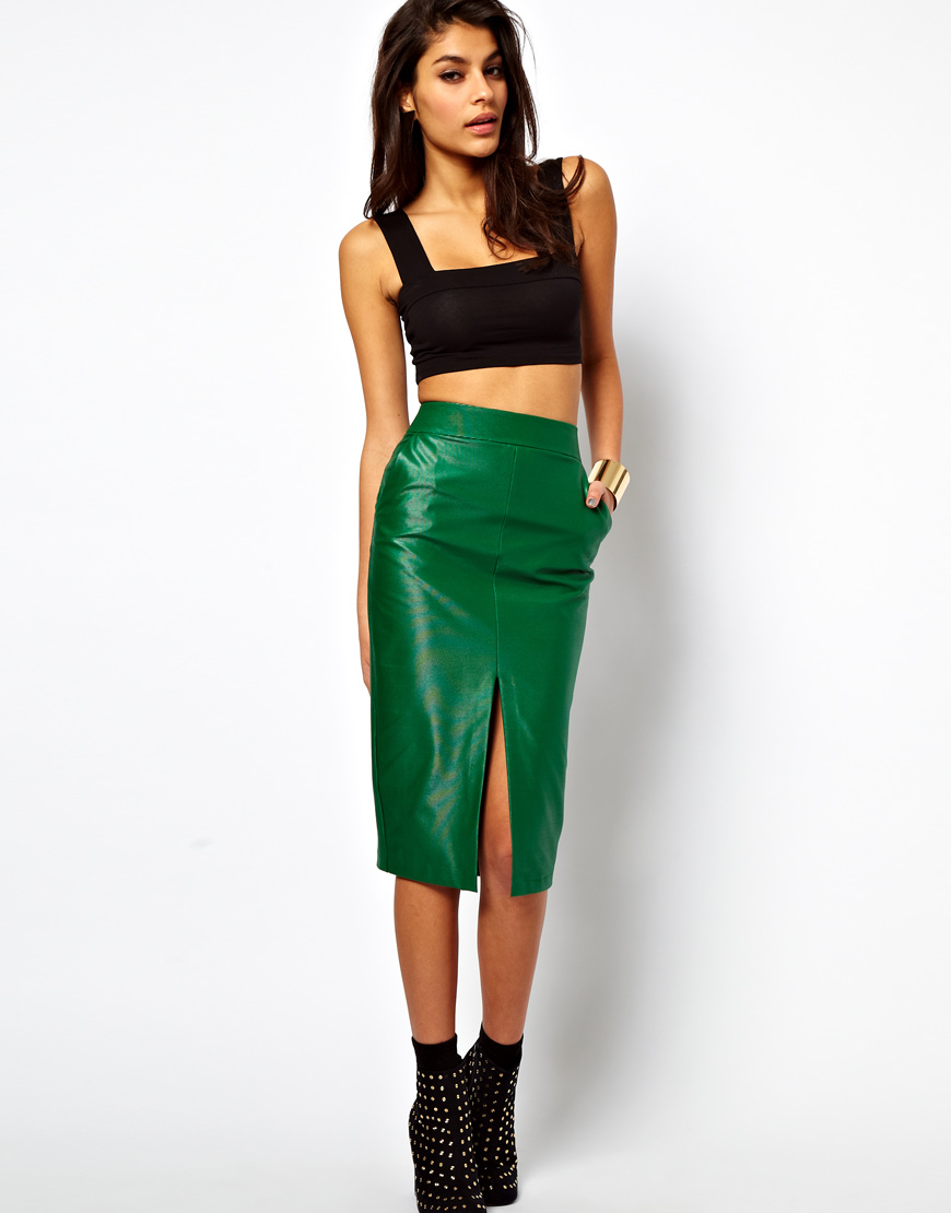75fb16e4e033 ASOS Collection Asos Pencil Skirt in Wet Look in Green - Lyst