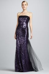 Badgley Mischka Sequined Mesh-overlay Gown - Lyst