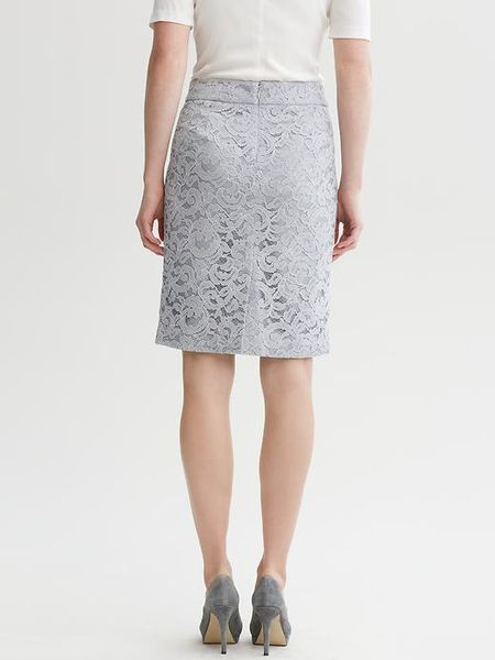 banana republic lace pencil skirt in silver dusty grey