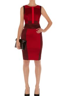 Karen Millen Signature Stretch Satin Dress - Lyst