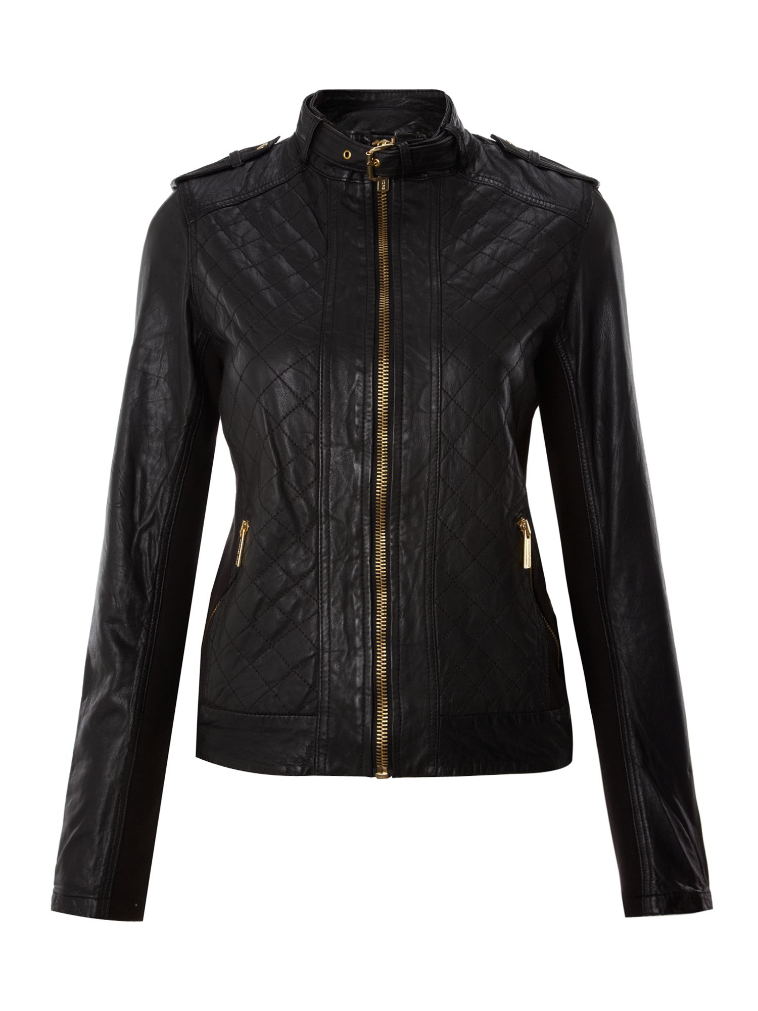 michael michael kors long sleeved quilted leather jacket in black lyst. Black Bedroom Furniture Sets. Home Design Ideas