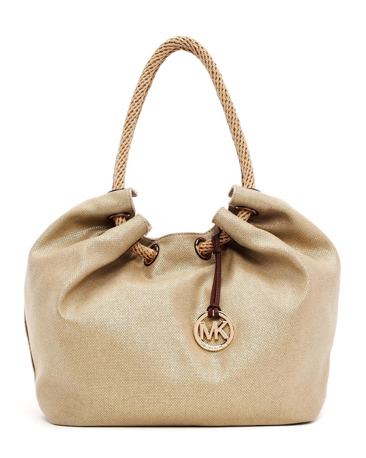5b0e797dc950 ... italy lyst michael michael kors large marina metallic canvas shoulder  1dc57 edd23