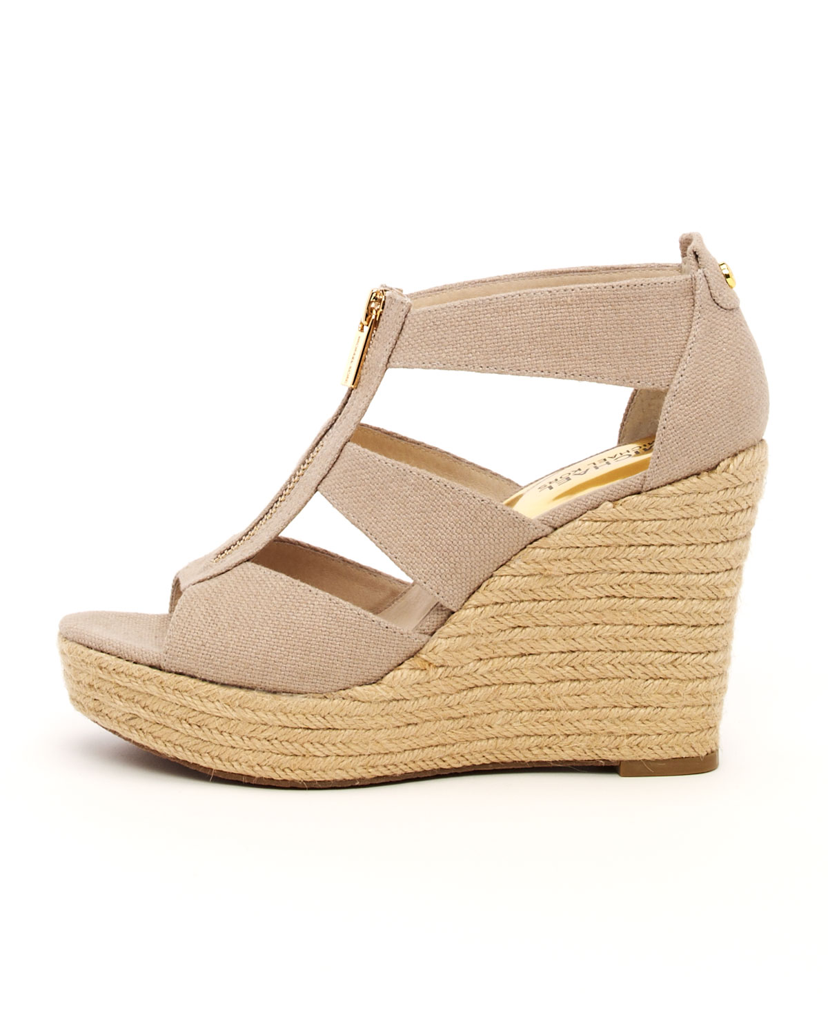 31b232ef927e Lyst - Michael Kors Canvas Wedge in Brown