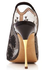 Nicholas Kirkwood Lace Open Toe Slingback Bootie in Black (black/metallic gold) - Lyst