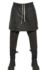 Rick Owens Waxed Cotton Poplin Skirted Trousers - Lyst