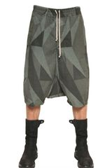 Rick Owens Camouflage Canvas Low Crotch Shorts - Lyst