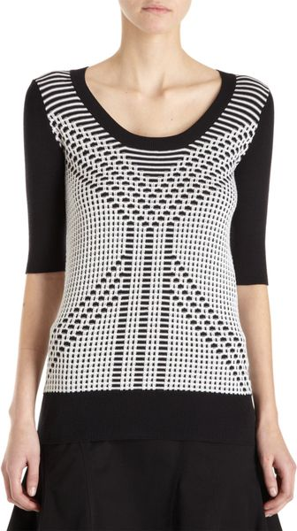 10 Crosby by Derek Lam Geometric Knit Short Sleeve Sweater - Lyst