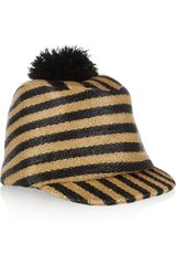 Burberry Prorsum Striped Raffia Effect Hat - Lyst