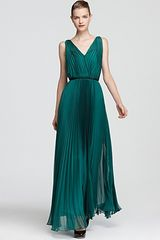 Halston Heritage Pleated Gown Sleeveless V Neck - Lyst