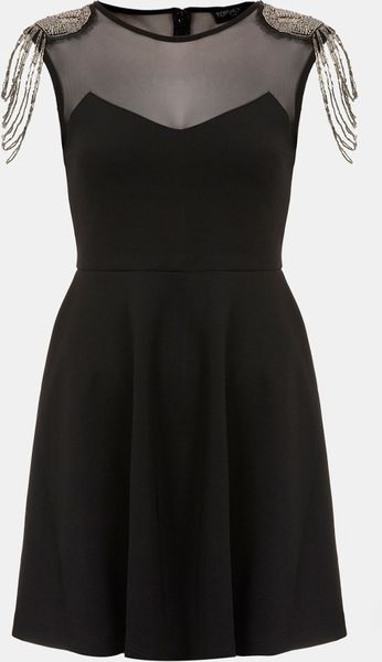 Topshop Fringe Embellished Skater Dress in Black