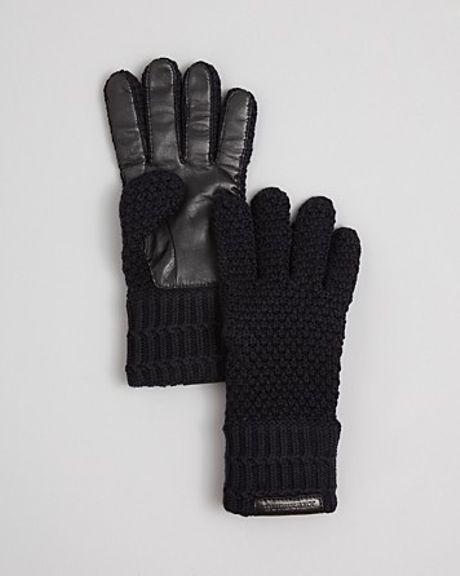 Burberry Knit Merino Leather Palm Gloves in Black for Men