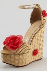 Charlotte Olympia Hortencia Wickerwoven Leather Wedge Sandal - Lyst