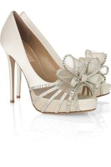 Valentino Bowembellished Satin Sandals - Lyst