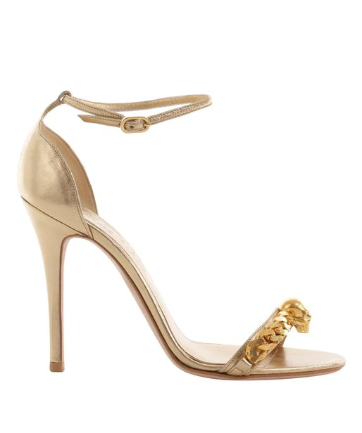Alexander mcqueen Metallic Gold Skull Chain Sandal in Metallic | Lyst