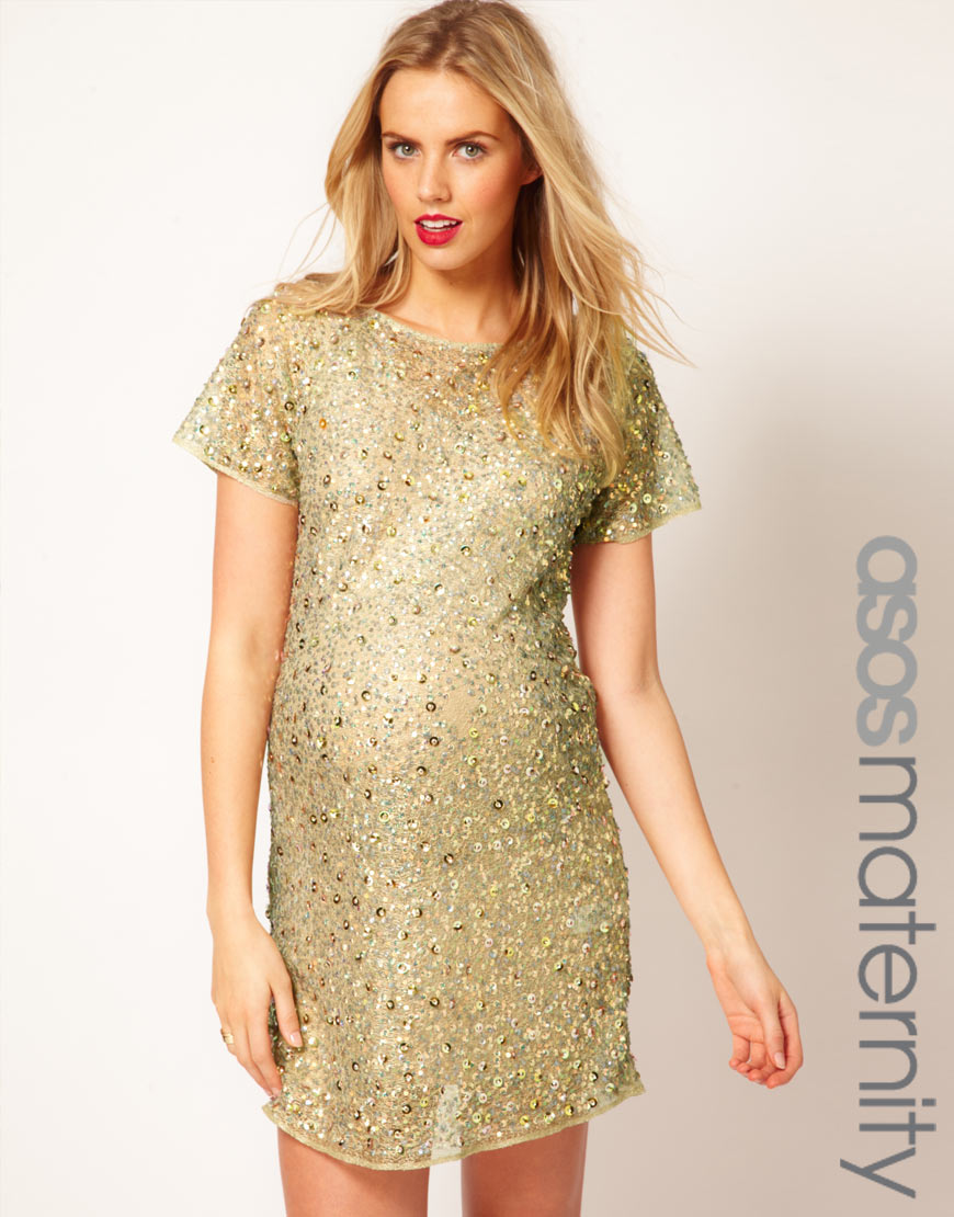 Asos shift dress with embellishment in metallic lyst gallery ombrellifo Image collections