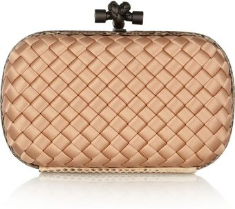 Bottega Veneta The Knot Intrecciato Satin Clutch - Lyst