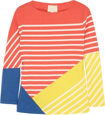 Band Of Outsiders Striped Colorblock Cotton Top - Lyst