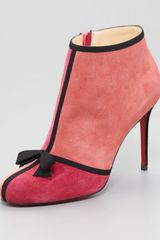 Christian Louboutin Arnoeud Grosgrainbow Suede Red Sole Ankle Boot - Lyst