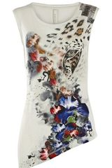 Karen Millen Animal and Flower Print T-shirt - Lyst