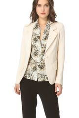 L'agence Notch Collar Blazer in Beige (ivory) - Lyst