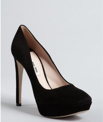 Miu Miu Black Suede Square Toe Platform Pumps - Lyst