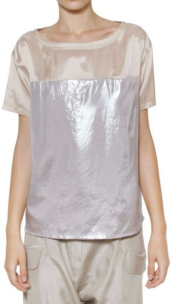 Mm6 Di M.m.margiela Mirrored Coated Lamé Top - Lyst