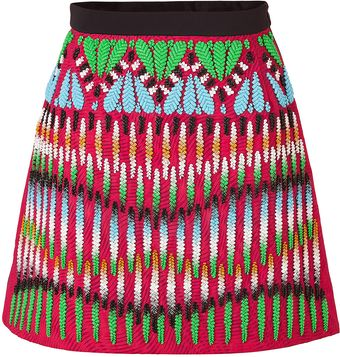 Peter Pilotto Crimson Redmulti Embroidered Front Natalie Skirt - Lyst