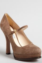 Prada Suede Mary Jane Platform Pumps - Lyst