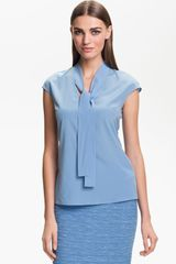 St. John Collection Cap Sleeve Crepe Top - Lyst