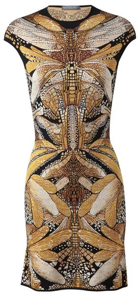 Alexander McQueen Patterned Wool Silk Knit Dress - Lyst