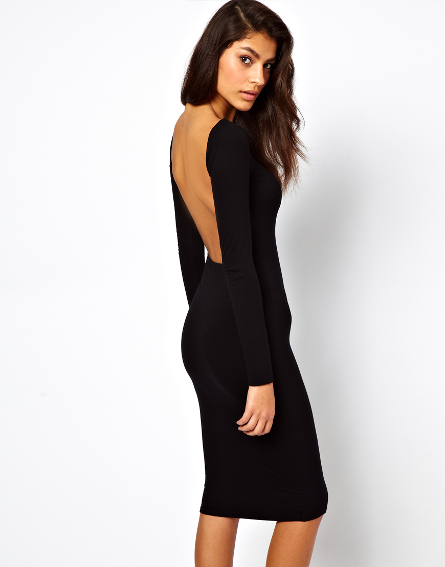 Lyst Asos Bodycon Midi Dress With Square Open Back In Black
