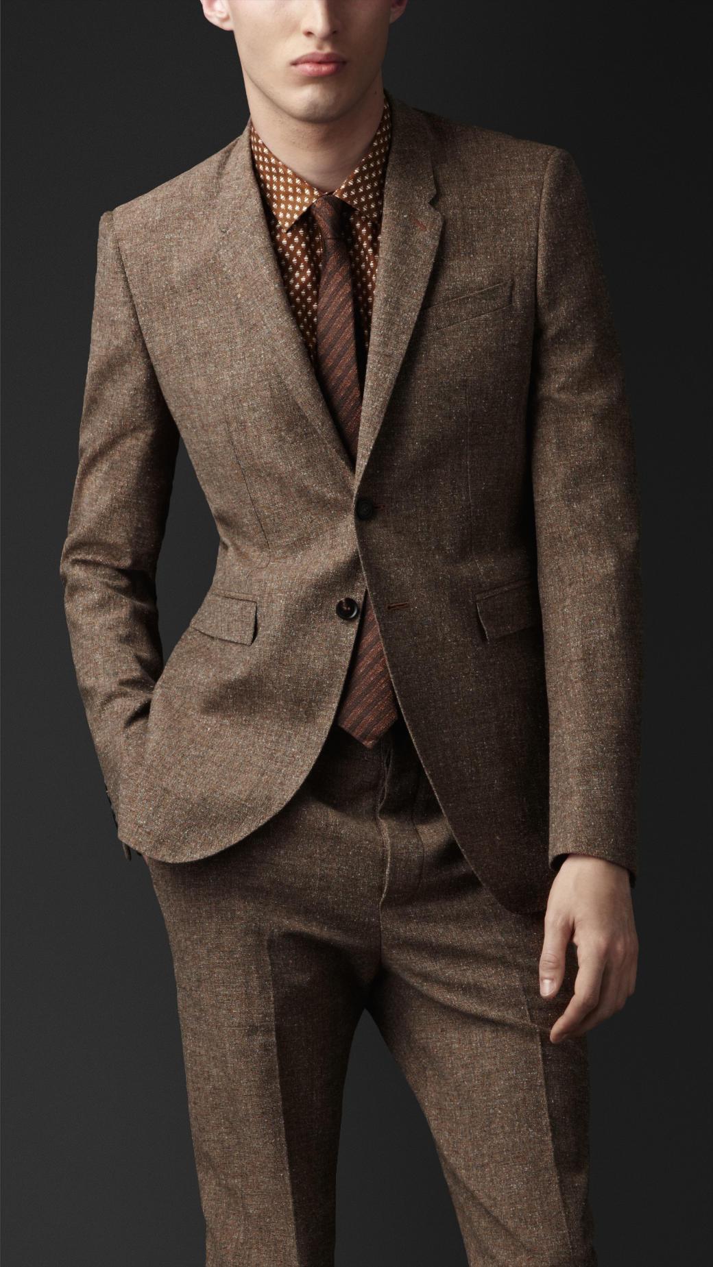 Burberry Prorsum Slim Fit Tweed Jacket In Brown For Men