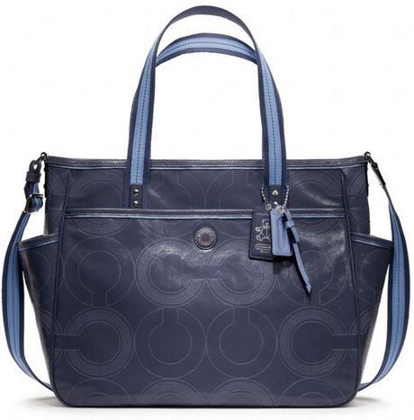 Coach Baby Bag Stitched Patent Tote in Blue (silvernavy)
