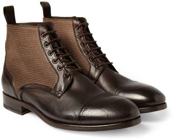 Paul Smith Julius Canvas and Leather Boots - Lyst