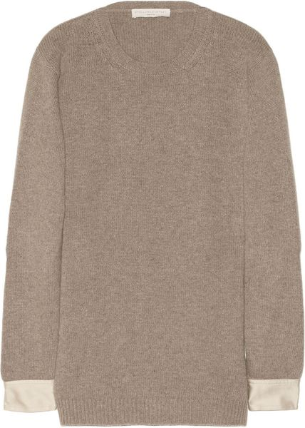 Stella Mccartney Cotton and Wool Blend Tunic Sweater in Brown (taupe) - Lyst