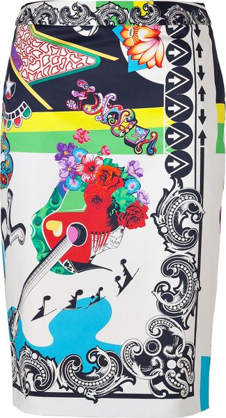 Versace Multicolored Cotton Stretch Rocknroll Printed Pencil Skirt - Lyst