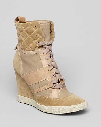 chlo high top sneaker wedges in gold tan lyst. Black Bedroom Furniture Sets. Home Design Ideas