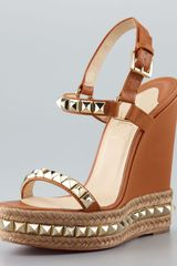 Christian Louboutin Cataclou Espadrille Wedge Brown - Lyst