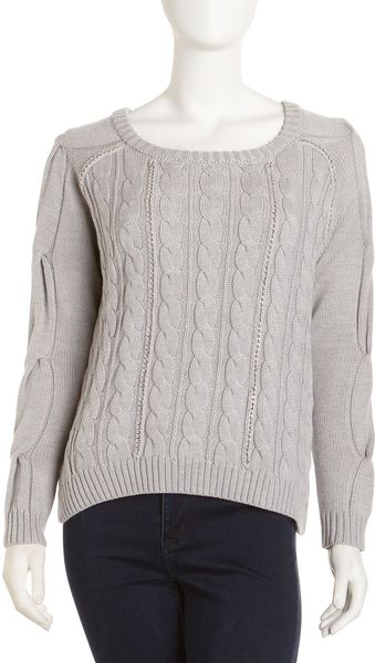 Haute Hippie Cropped Cableknit Sweater - Lyst