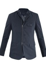 John Varvatos Pinstripe Zip Up Jacket - Lyst